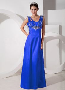 Customized Beaded Royal Blue Formal Prom Dress for Slim Girls on Sale