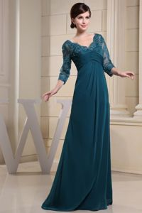 Recommended V-neck 3/4 Sleeves Teal Formal Prom Attire for Women
