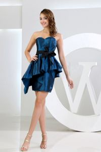 Pretty Taffeta Mini-length Navy Blue Prom Dress for Slim Girls with Peplum