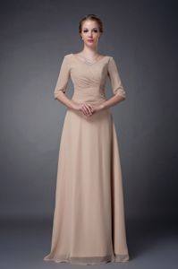 Elegant Scoop Neck Half Sleeves Champagne Formal Prom Dress for Women