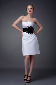Secaucus NJ Trendy Strapless White Short Prom Outfits with Black Flowers