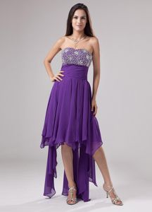 Somerset USA Hot Sale Asymmetrical Hem Purple Prom Dress with Beads