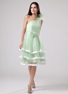 Apple Green Short Prom Dress for Summer with Ruffled Layers One Shoulder