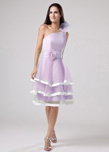 One Shoulder Tiered Knee-length Lavender Prom Dress with Handmade Flowers