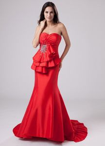Charming Mermaid Red Formal Prom Outfits with Cut out Back for Autumn