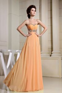 Recommended Sweetheart Beaded Orange Long Prom Dress on Sale