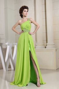 One Shoulder Slitted Beaded Spring Green Formal Prom Dress about 150