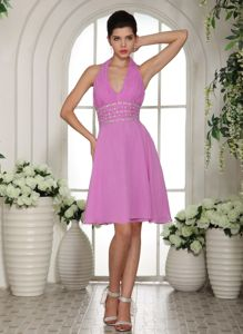 Lavender Halter Prom Cocktail Dress with Beading and Ruches in Spokane
