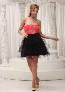 Beaded Short Lovely Prom Cocktail Dress in Rust Red and Black in Sandy