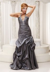 Beaded Halter Grey Ruched Formal Prom Dress in Taffeta in Ogden