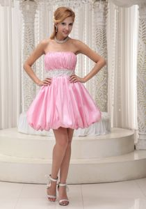 Ruched Mini-length Prom Cocktail Dress with Beading in Pink in Sandy