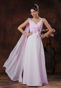 Light Pink Chiffon Beaded Prom Dress with Watteau Train in Victoria
