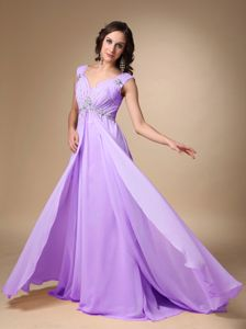 Lavender Chiffon Beaded Prom Evening Dress with Court Train in Midland