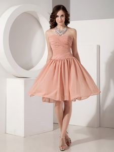 Sweetheart Chiffon Ruched Prom Gown Dress in Knee-length in Garland