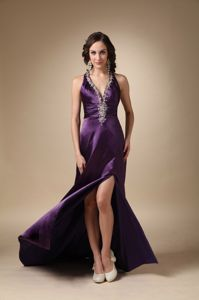 Eggplant Purple V-neck Beaded Prom Dress with Brush Train in Galveston