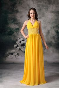 Halter Chiffon Beaded Prom Outfits in Yellow with Brush Train in Dallas