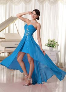High-low Beaded Sweetheart Chiffon Ruched Prom Dresses in Blue