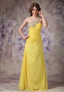 Yellow One Shoulder Chiffon Ruched Prom Dress with Beading in Denton