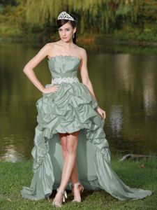 Grey Taffeta High-Low Strapless Prom Dresses with Lace-up Back