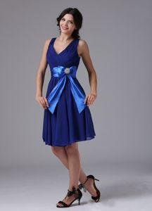 Chiffon Peacock Blue Prom Dress with Bowknot in Ben Lomond California