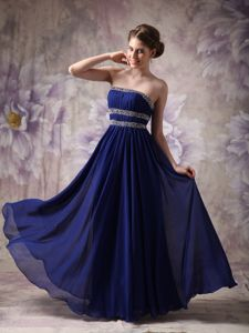 Strapless Beaded Custom Made Prom Gown in Peacock Blue in McKinney
