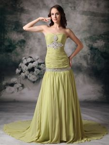 Yellow Green Mermaid Chiffon Prom Dresses with Beading in Lubbock