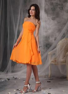Orange Strapless Short Prom Dresses in Chiffon with Hand Flowers