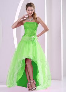 High-low Spring Green Sequined Prom Dress with Hand Flower in Austin