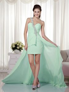 One Shoulder High-low Chiffon Beaded Prom Dress in Apple Green