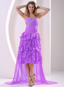 Lavender High Low Beaded and Ruffled Informal Prom Dresses in Clemson