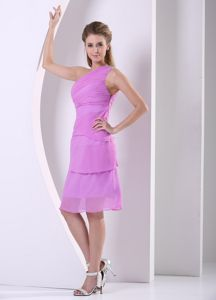 Beaded One Shoulder Chiffon Knee-length Prom Outfits in Lavender