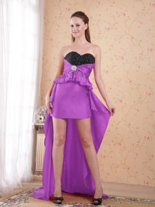 Sweetheart High-low Beaded Taffeta Prom Dress in Purple and Black