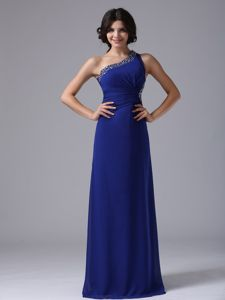 Beaded One Shoulder Peacock Blue Prom Evening Dress in Brea California