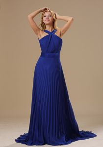 Pleated V-neck Royal Blue Prom Evening Dress with Brush Train in Reading
