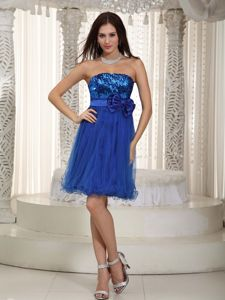 Mini-length Organza Sequined Prom Gown with Bowknot in Blue in Gympie