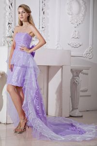 Pretty Strapless High-low Lavender Prom Attire with Bow and Bead