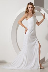 Sequined White One Shoulder High Slit Prom Dresses with Cutouts