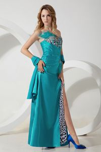 Leopard Decorate Sweetheart Prom Gown with Slit on the Side Hot