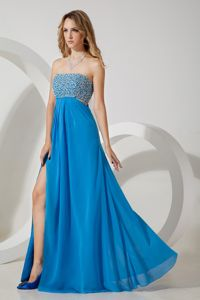 Baby Blue High Slit Beaded Bodice Prom Dress with the Back out