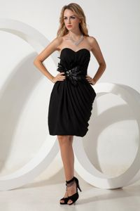 Hand Made Flowers Accent Sweetheart Draped Prom Dress in Black