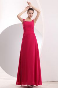 Hot Pink Straps Chiffon Prom Gown with Beading in Ebbw Vale Gwent
