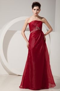 New Wine Red Floor-length Strapless Dress for Prom with Appliques