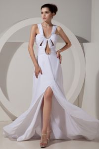 Elegant White U-neck High Slit Brush Train Prom Outfits with Cutouts