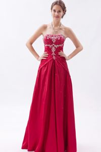 Wine Red Strapless Appliqued Beaded Senior Prom Dress Discount