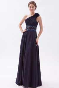 Inexpensive Navy Blue Floor-length Prom Dress with Beading Waist