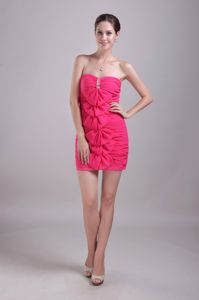 Pretty Hot Pink Strapless Ruched Prom Gown Dress with Bowknot
