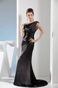 Black Satin Asymmetrical Neck Prom Gown Dress with Side Zipper