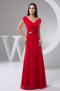Red Chiffon V-neck Prom Gown Dresses Floor-length in Burwell