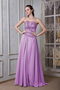 Purple Strapless Chiffon Beaded Prom Outfits in Donaghmore Tyrone
