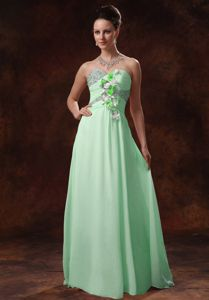 Sweetheart Beaded Apple Green Long Prom Dresses with Floral Embellishment